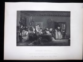 After David Wilkie C1870 Antique Print. Reading the Will